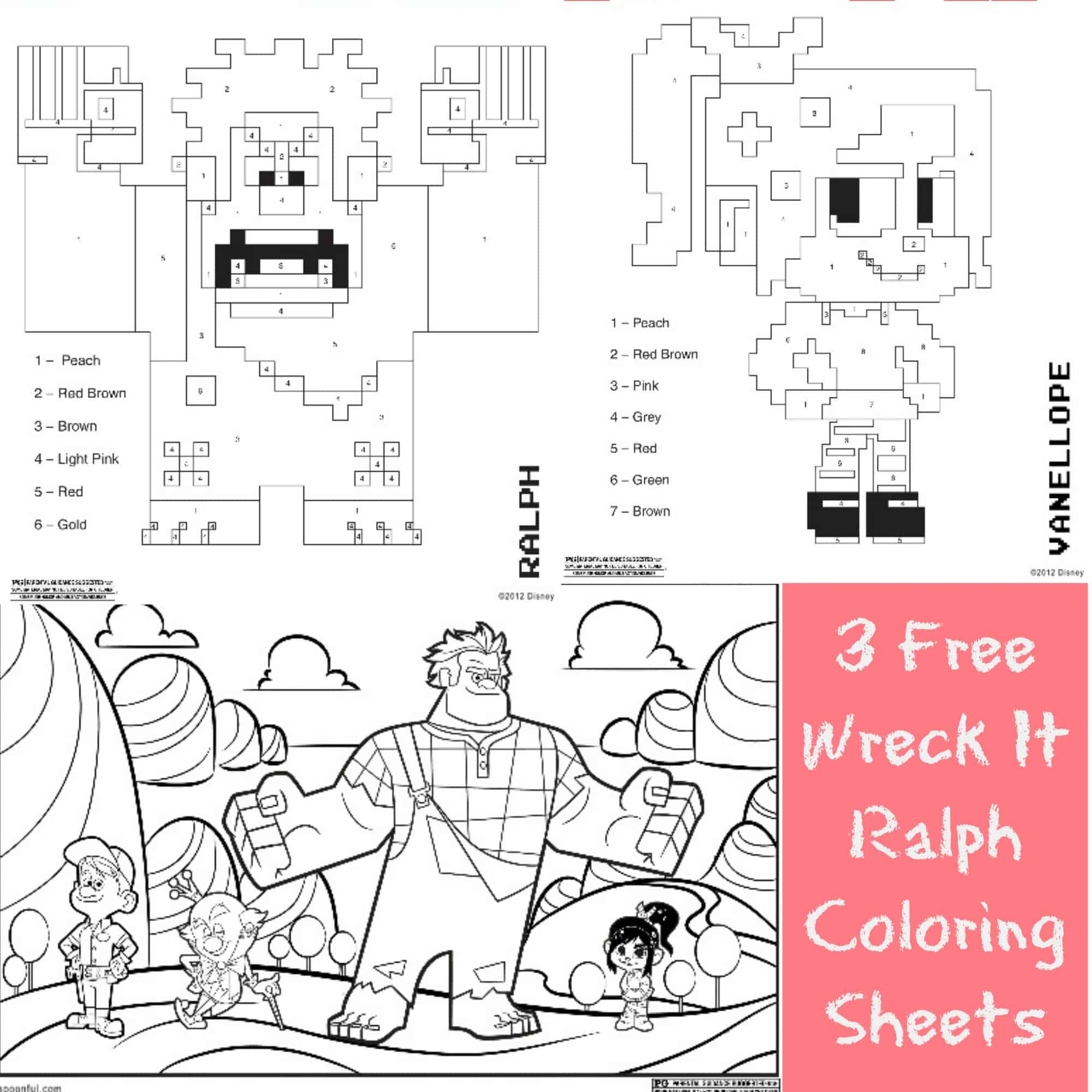 3 Free Printable Wreck It Ralph Coloring Sheets Farmer S Wife Rambles