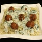 Baked Spaghetti with Cheese Balls in Spinach Sauce