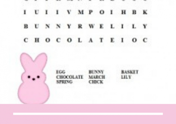 Word search with pink background and bunny with white words