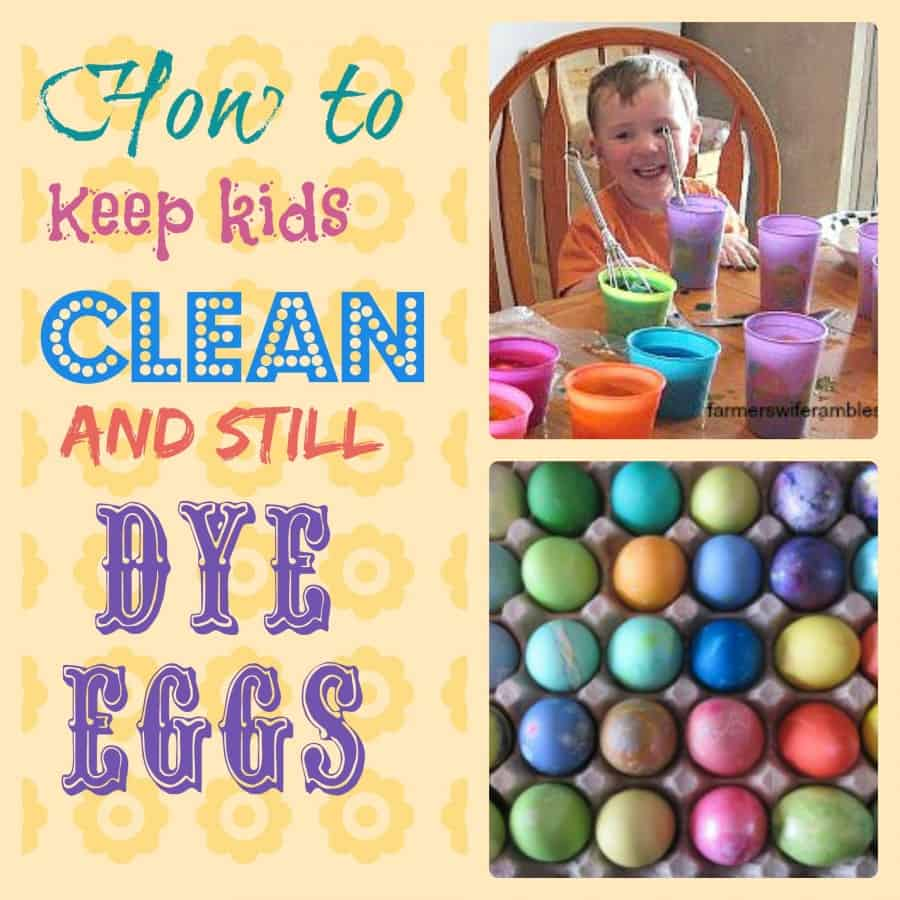 A collage photo with colored Easter eggs and a tip on how to color eggs with little ones in the house.
