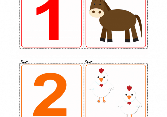 Farm Themed Number Printable Game with a horse and chickens.