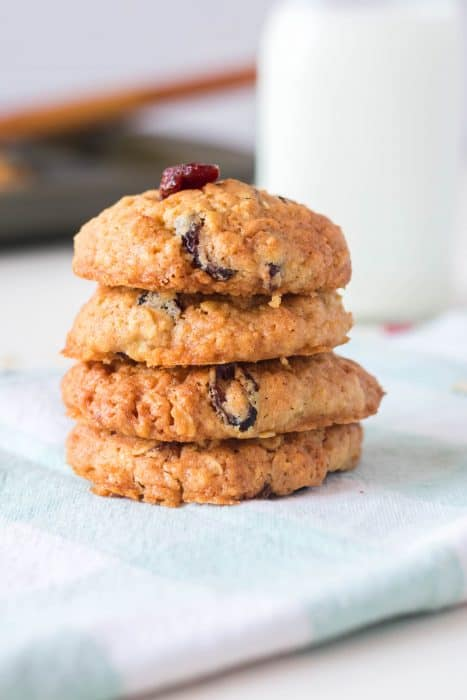 Cherry Almond Oatmeal Cookies stacked.