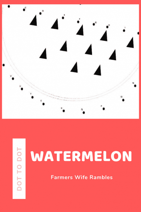 black and white dot to dot free printable that makes a watermelon with text dot to dot watermelon