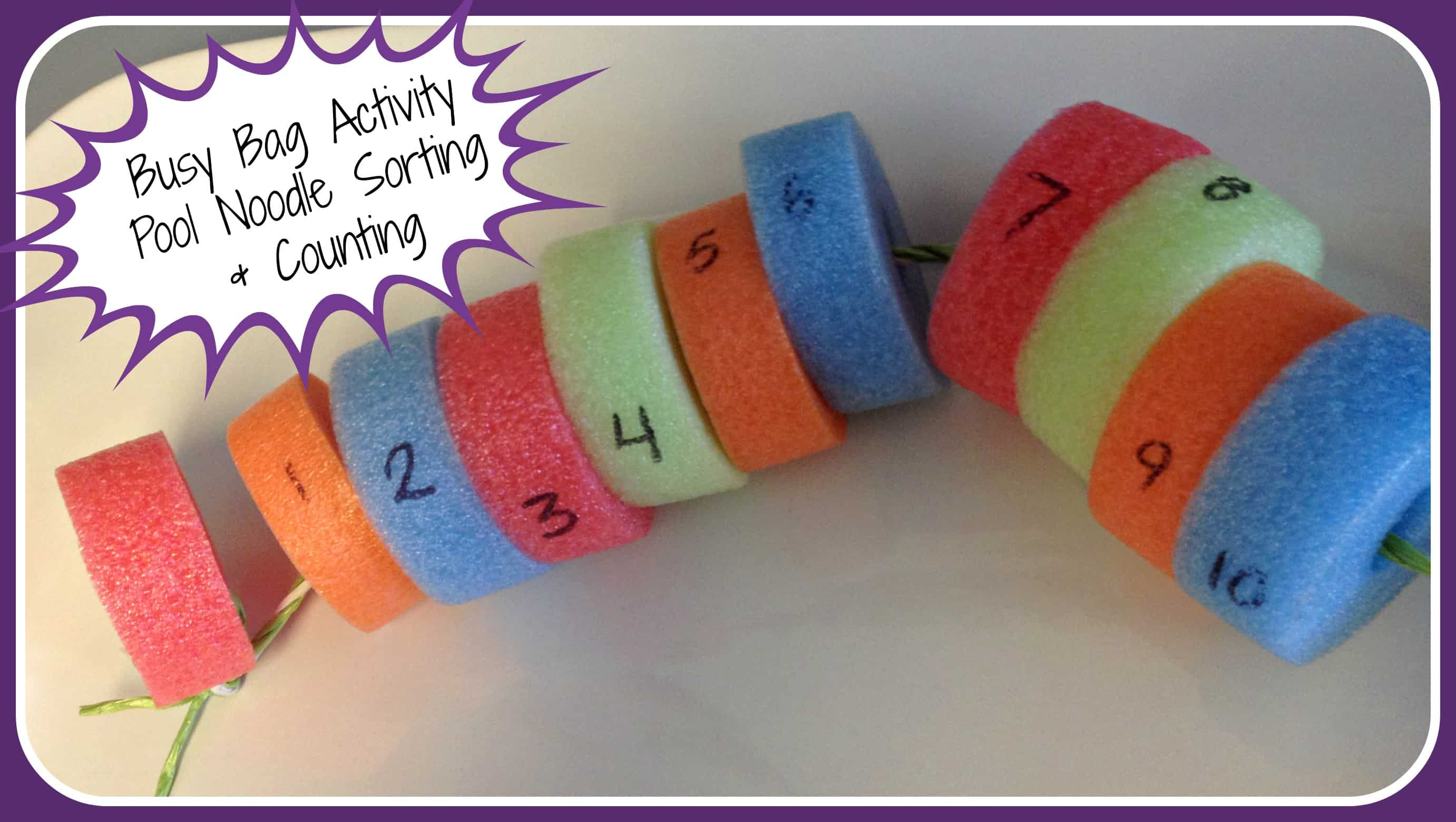 Busy Bag Activity - Pool Noodle Sorting & Counting