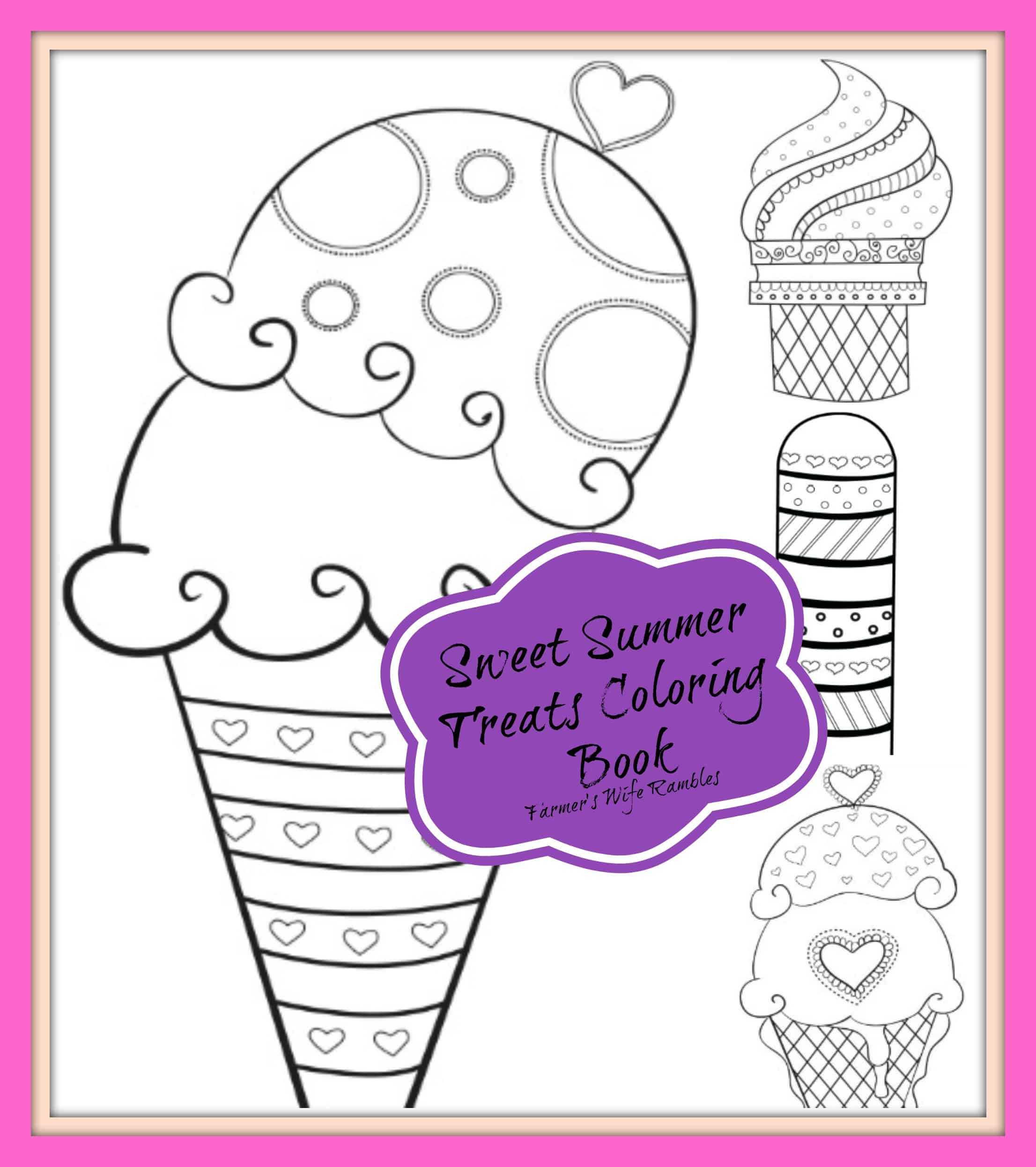 Sweet summer treats free printable coloring book farmer for Sweet treats coloring pages