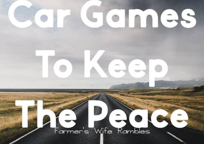 A photo with a long stretched out highway with the words no prep car games to keep the peace on it in white.