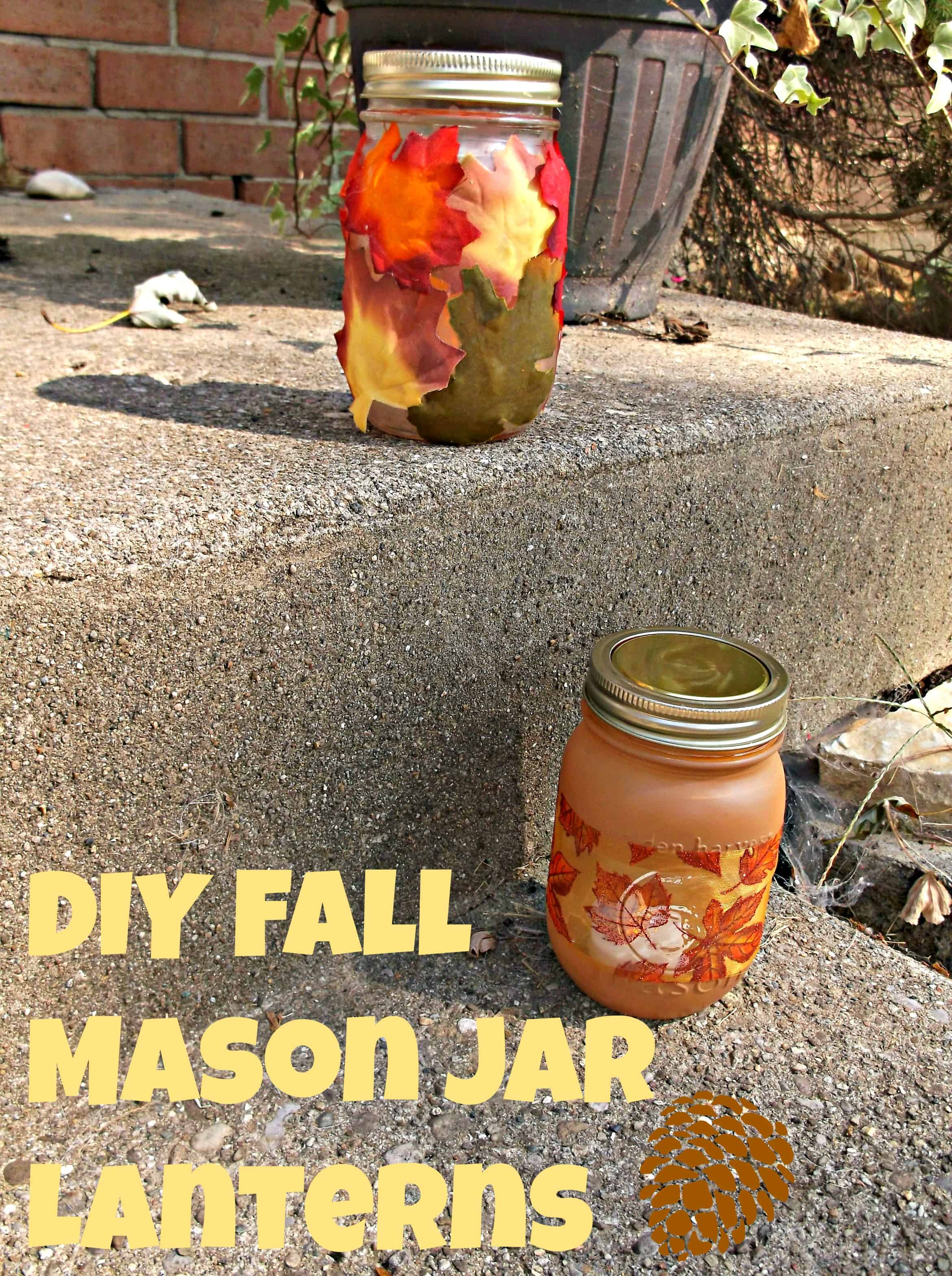 DIY Decorative Fall Mason Jar Lanterns
