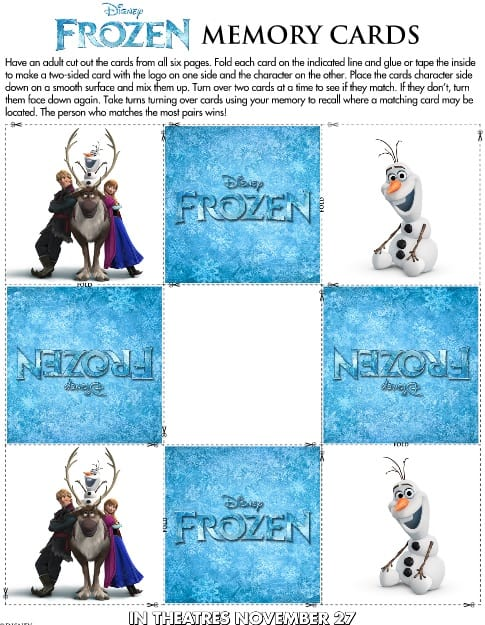 Free Frozen Memory Card Printable