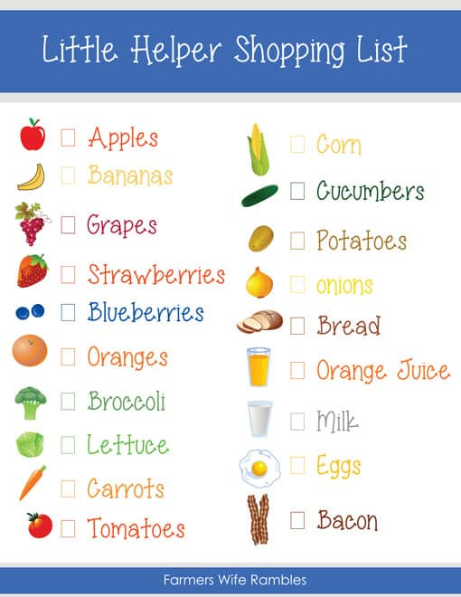 Free Pretend Play Kids Shopping List Printable - Farmer'S Wife Rambles