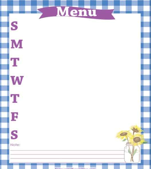 Blue & Purple Menu Planner Printable