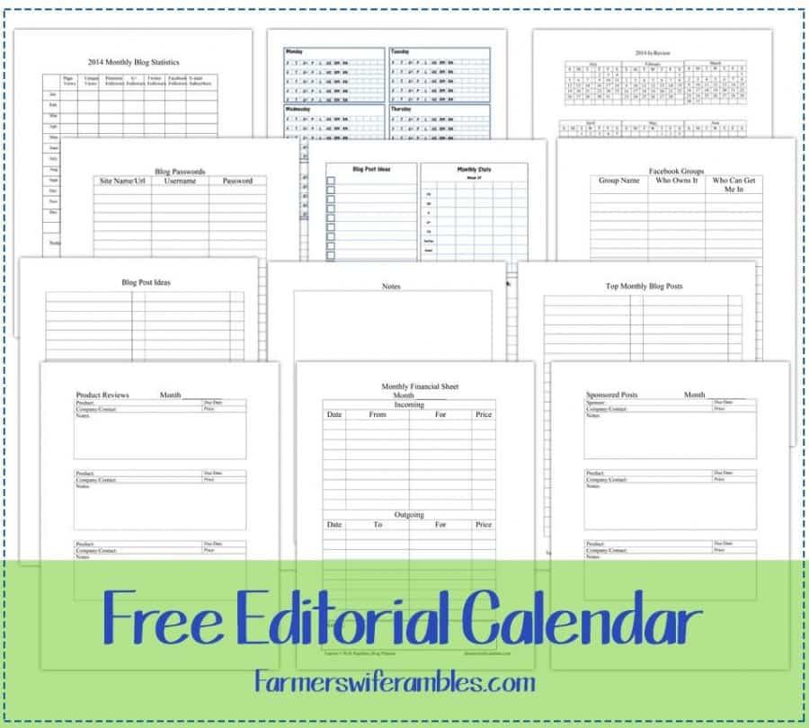 Free Editorial Calendar