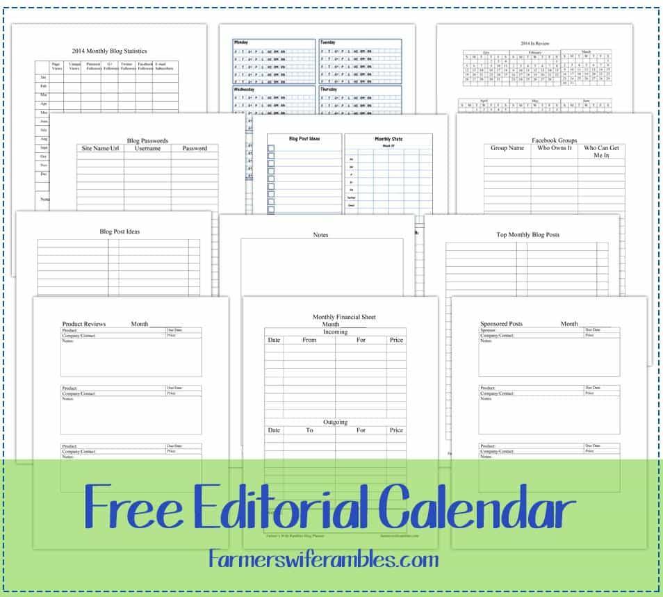 Free 2014 Editorial Calendar Printable Farmer S Wife Rambles