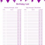 Free Birthday List Printable + Editable Birthday List
