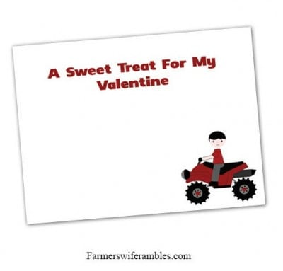 Four Wheeler Valentine's Day Card Printable