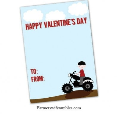 Motorcycle Printable Valentine's Day Cards