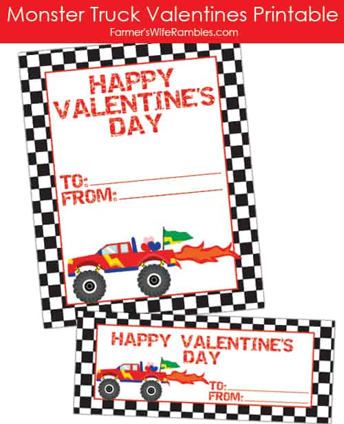 Monster Truck Valentine's Printable