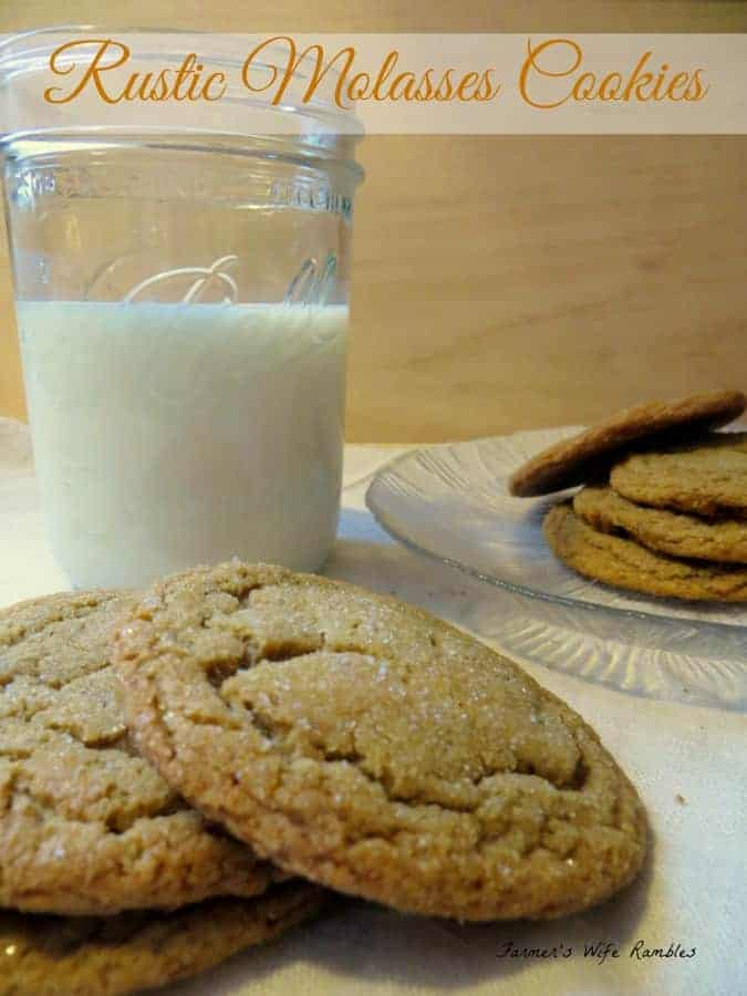Rustic Molasses Cookies on a plate with a glass of milk in the background.