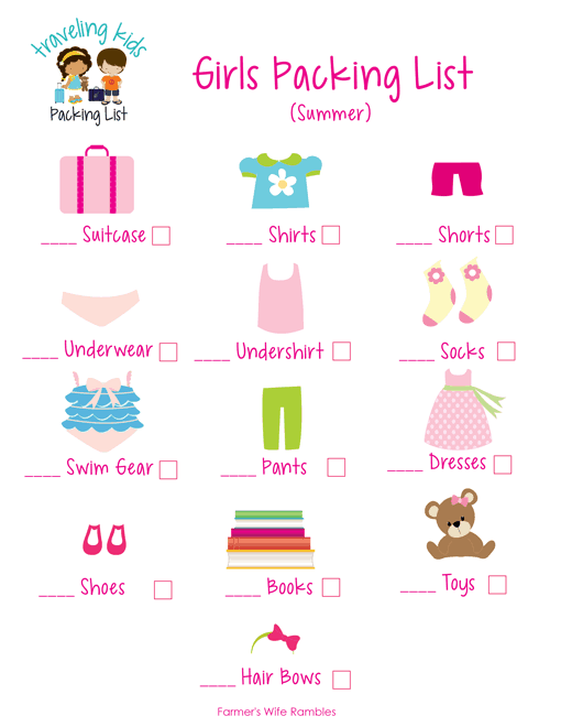 Kid's Packing List Free Printables