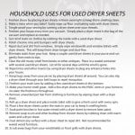 Free Printable With 20 Household Dryer Sheet Uses