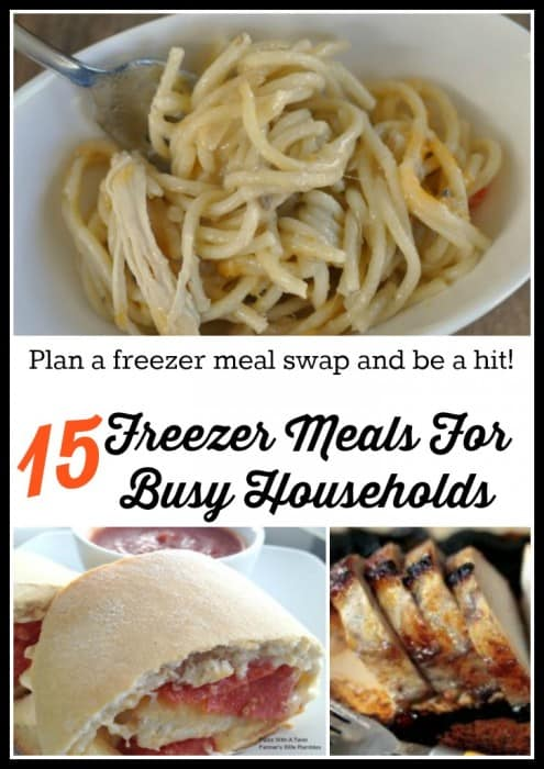 A collage with 15 freezer meals that freeze well.