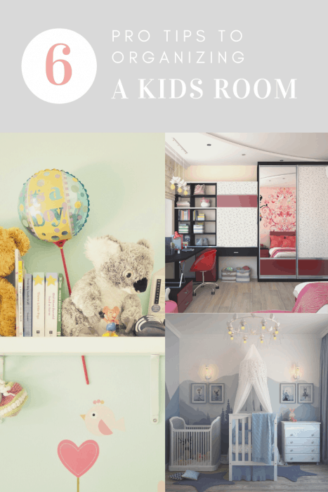 a photo collage about organizing kids rooms