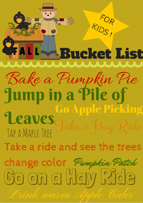 Kids Fall Bucket list