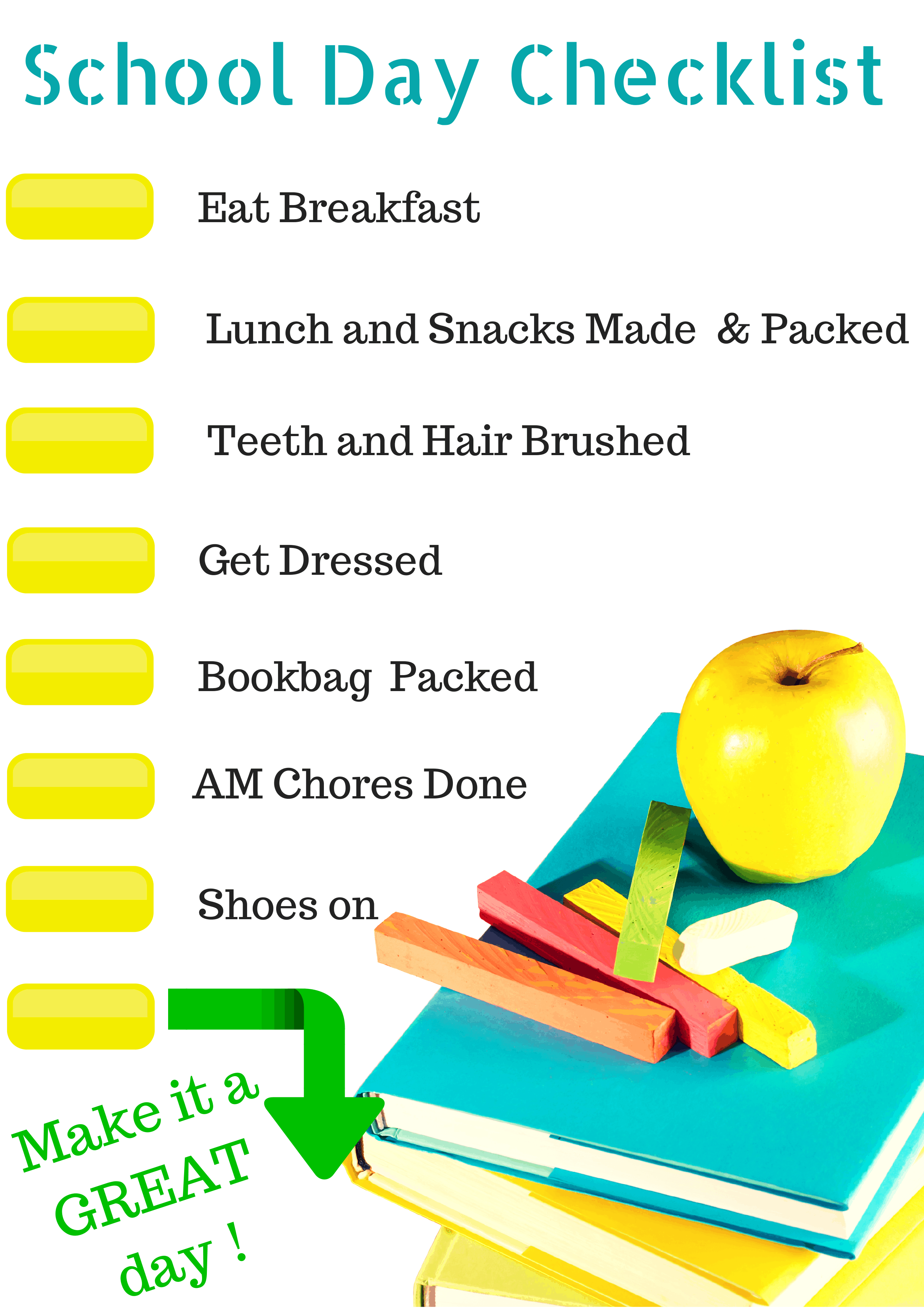 It is a photo of Fabulous Morning Routine Checklist Printable