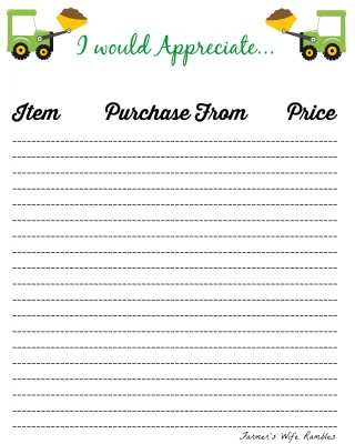 Wish List Printable - Green Tractor