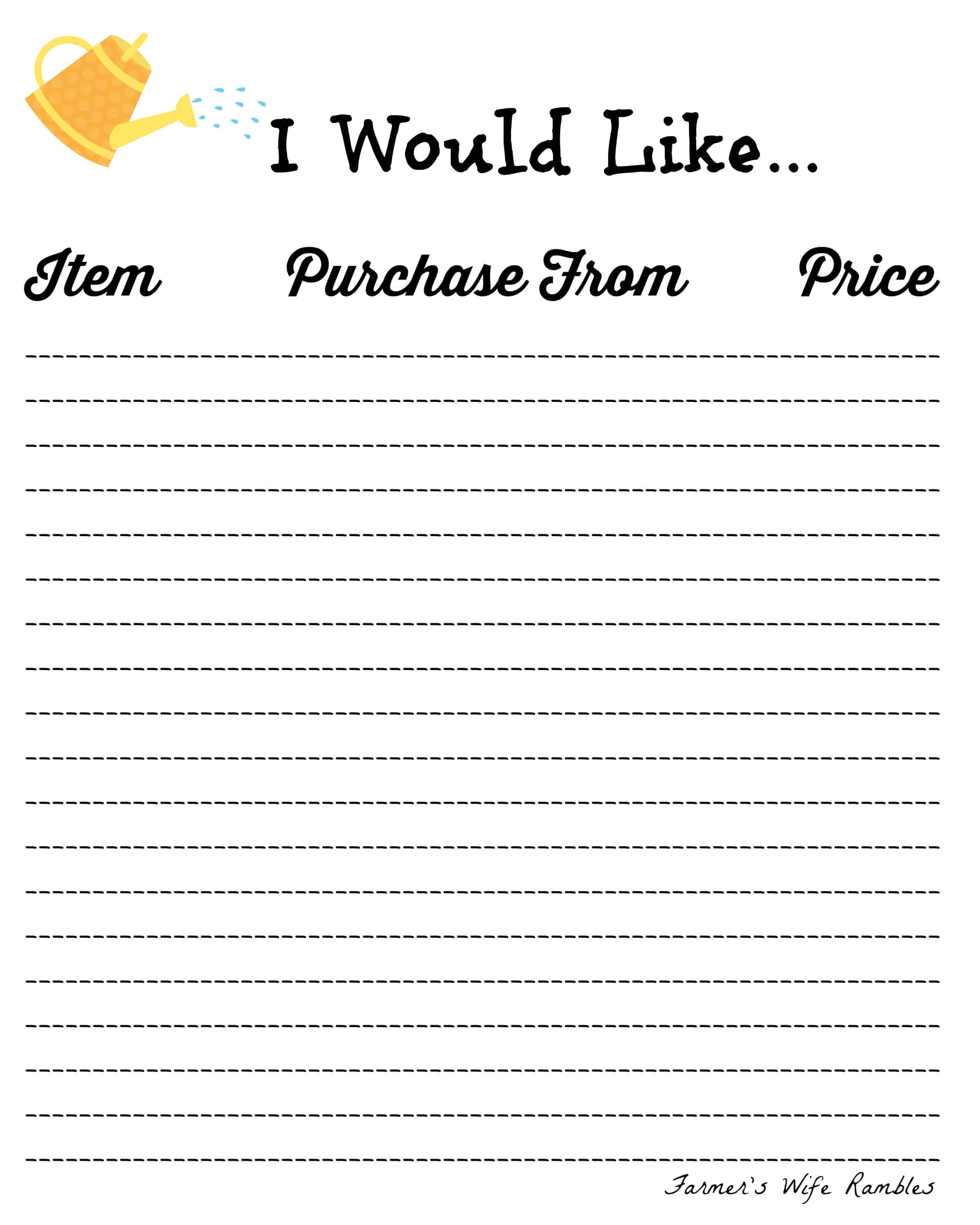 photo regarding Wish List Printable named No cost Need Checklist Printables ~ 5 Programs Towards Select Versus