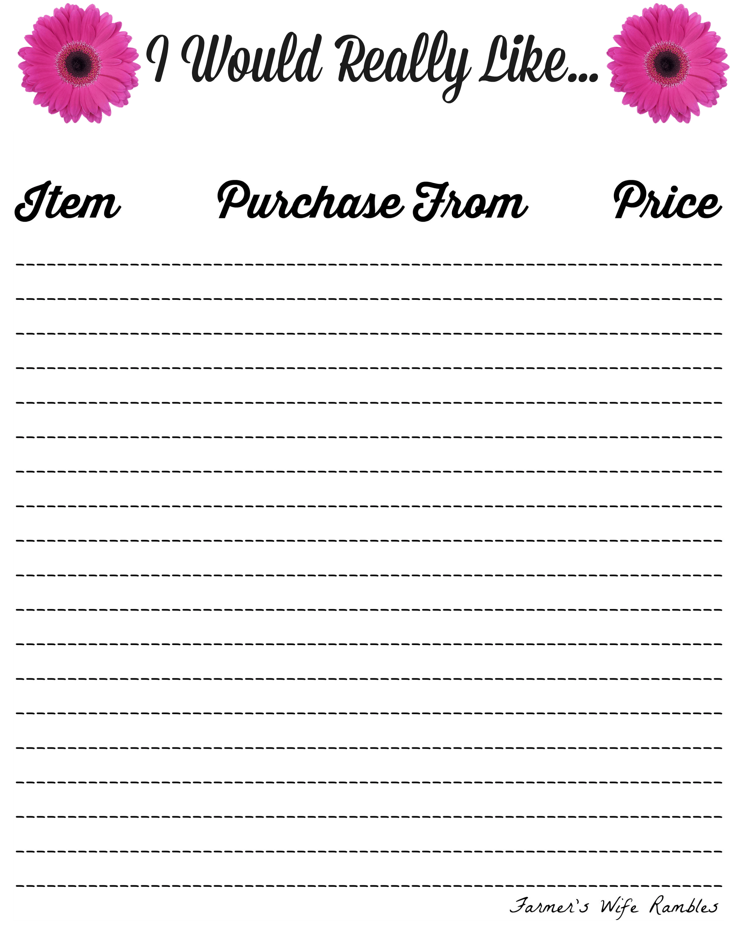 Printable wish list template format for credit note application free printable wish list template i would really like pink daisies free printable wish list template pronofoot35fo Images