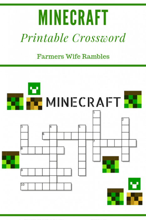 crossword for minecraft with text Minecraft Printable Crossword