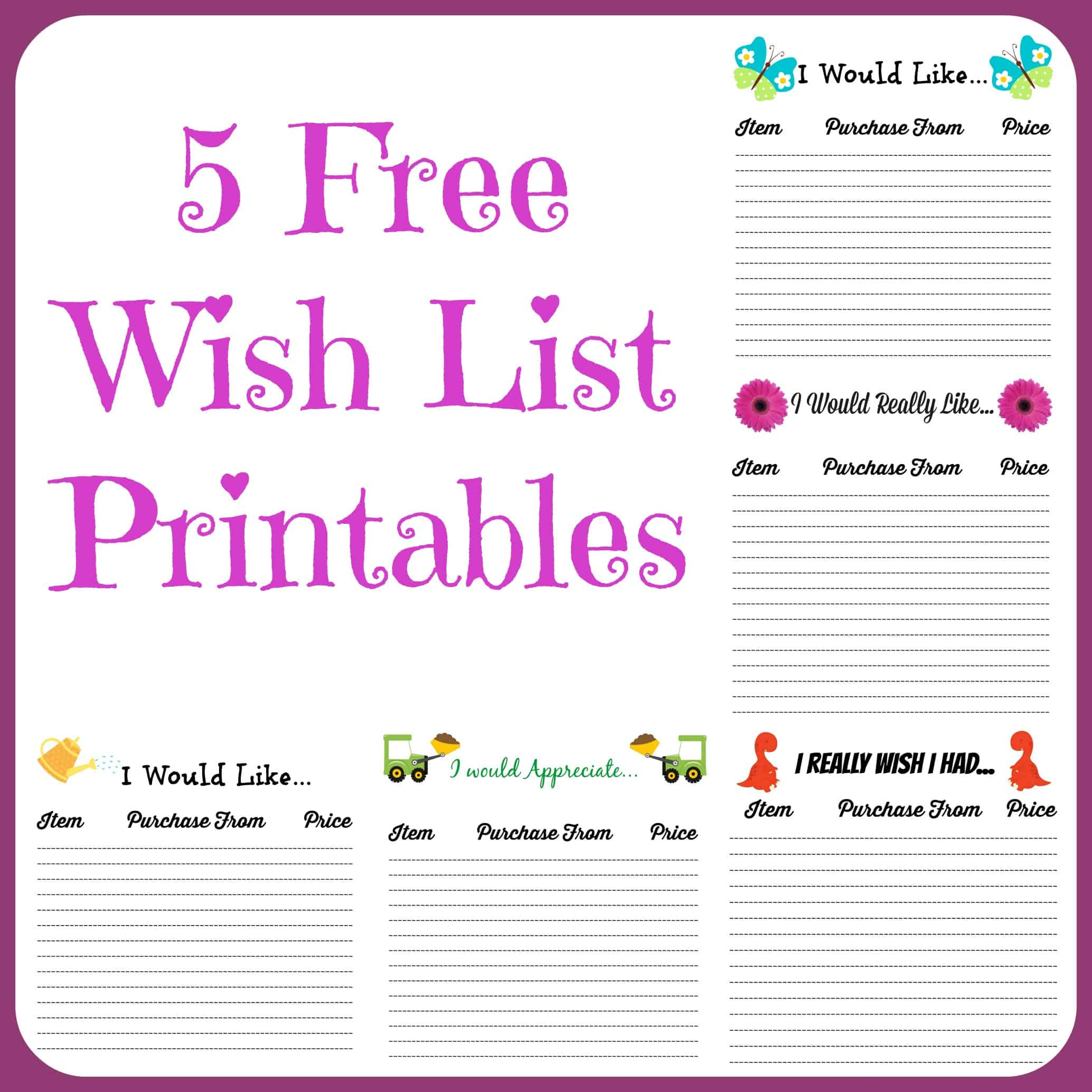 5 Free Wish List Printables