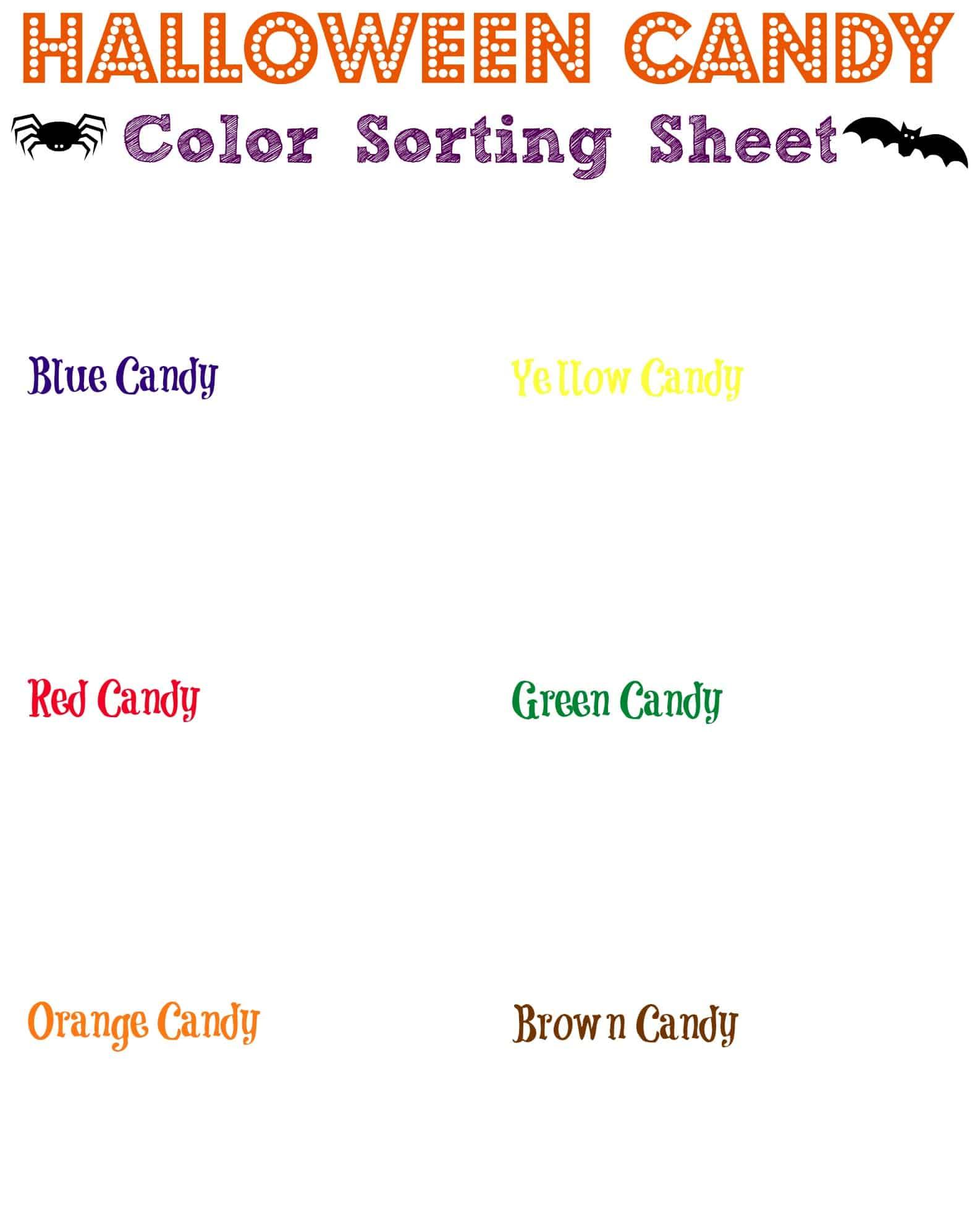 Candy Color Sorter Homeschool Printables