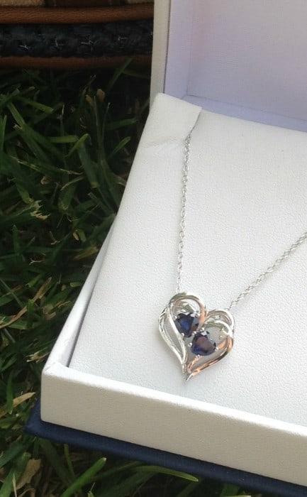 Fashionista Sapphire Diamond Accent Heart Pendant