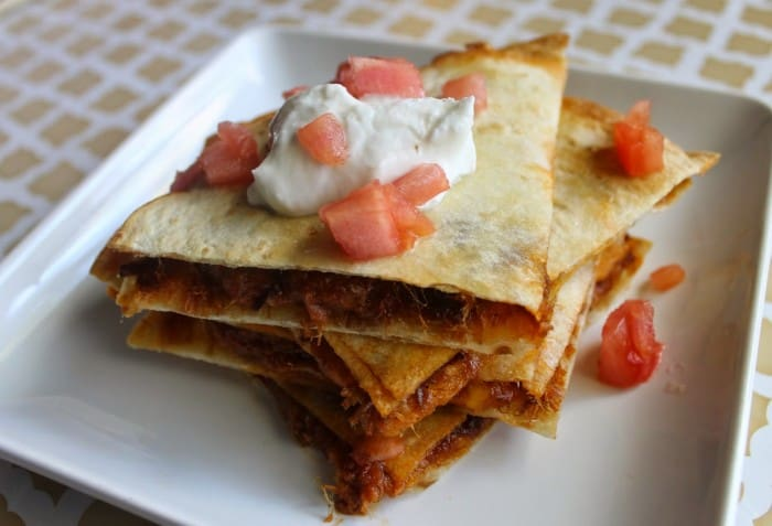 10 Minute Pulled Beef Brisket Quesadilla
