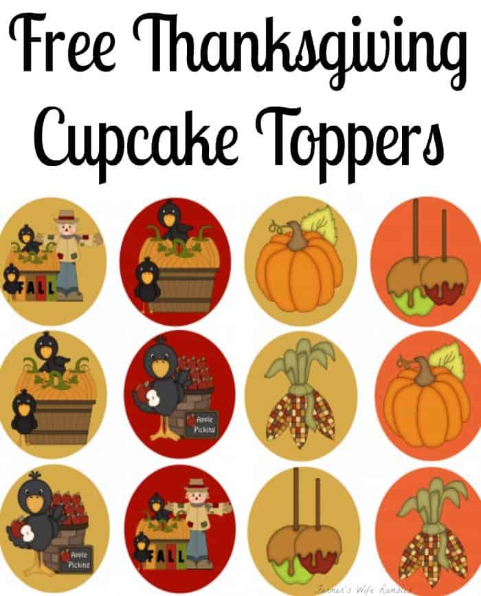 Free Thanksgiving Cupcake Toppers, Fall Cupcake Toppers, Free Cupcake Toppers