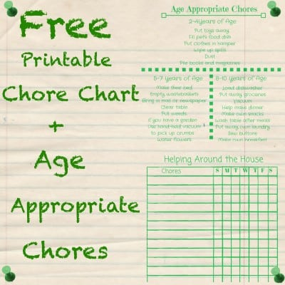 Printable Chore Chart and Age Appropriate Chores
