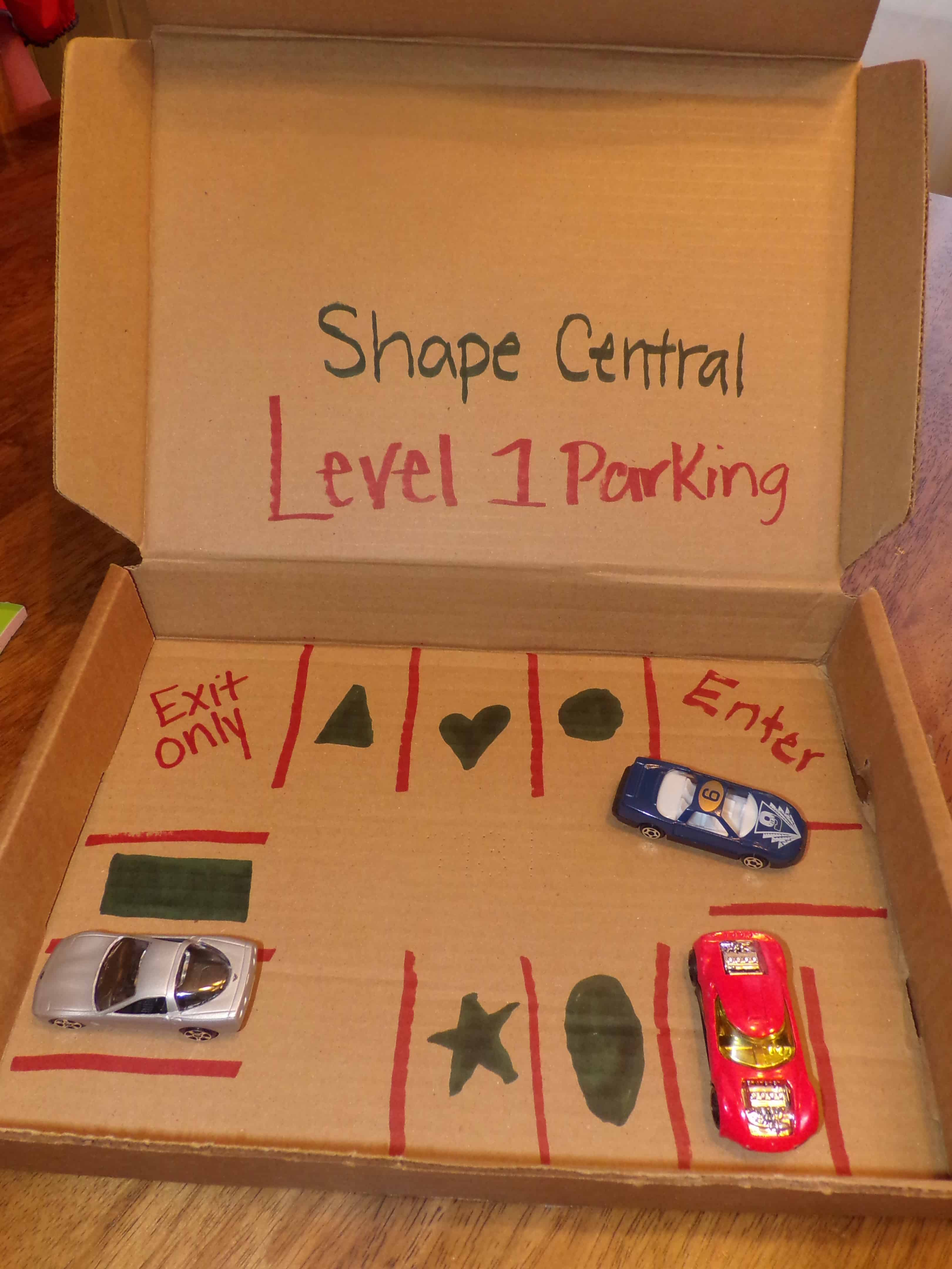 Teaching Shapes - DIY Shape Car Garage