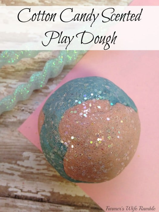 Do you need something fun to do with the kiddos?  This easy cotton candy scented  recipe for playdough is just the thing! - Farmer's Wife Rambles