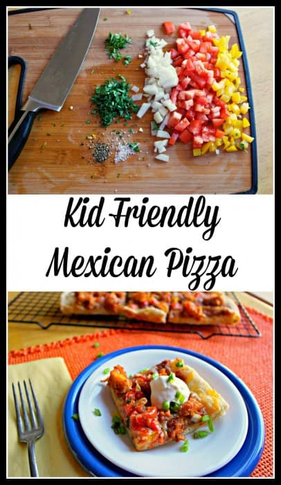 This Mexican Pizza comes together quickly with diced Tyson chicken strips, pizza dough, cheese, refried beans for topping and taco sauce.  Kid approved! - Farmers Wife Rambles