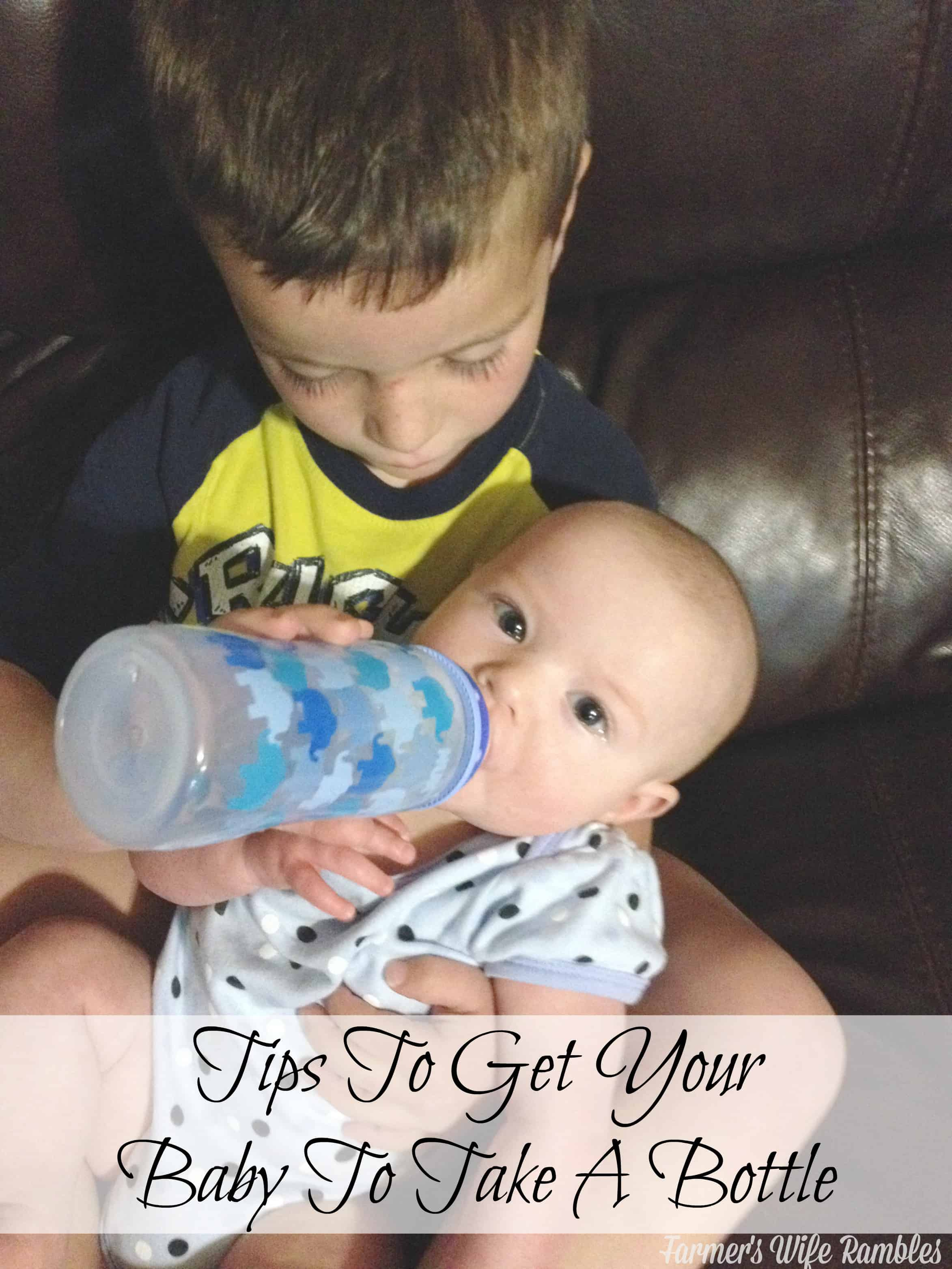 Tips to get your baby to take a bottle when making the transition from breast to bottle. - Farmer's Wife Rambles