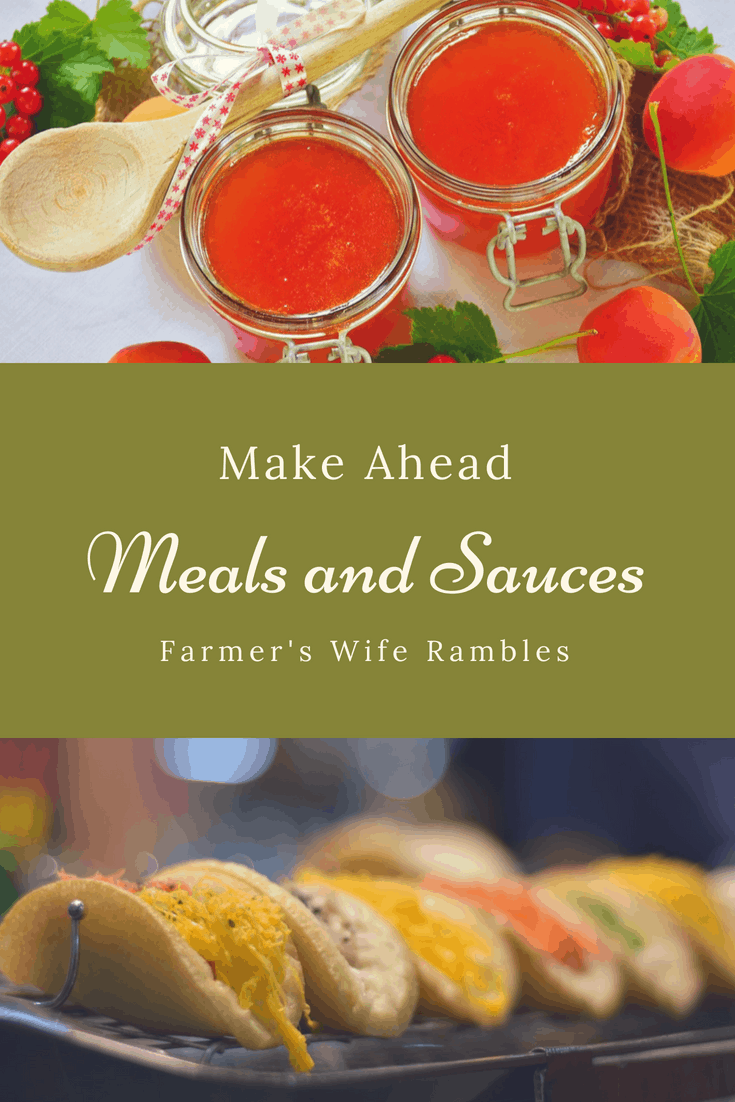 two pictures Red Sauce and Tacos with a wood spoon, freezer meals