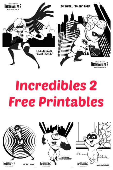 incredibles 2 free printables