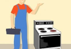 cartoon oven repair man