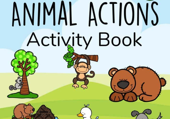 A cover for learning verbs through animal actions.