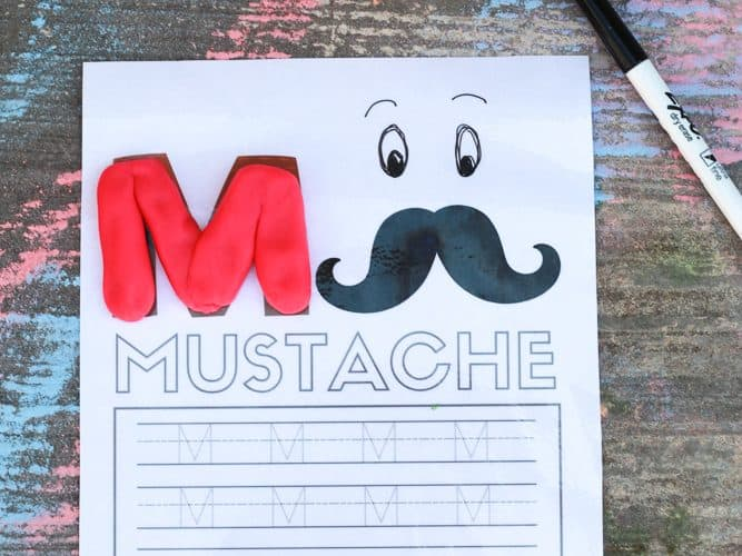 Alphabet Tracing Worksheets with the letter M and Mustache