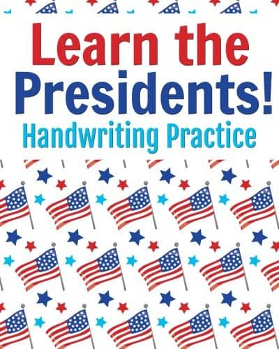 Picture with flags and Learn the presidents handwriting practice written on it.
