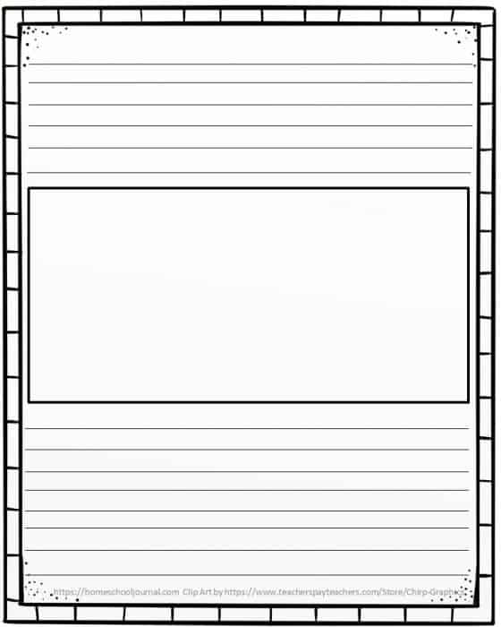 Picture of the free doodle border notebooking pages with a box in the center.