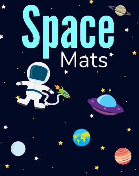 Image with Space Mats in big letters and an astronaut with planets on a dark blue background.