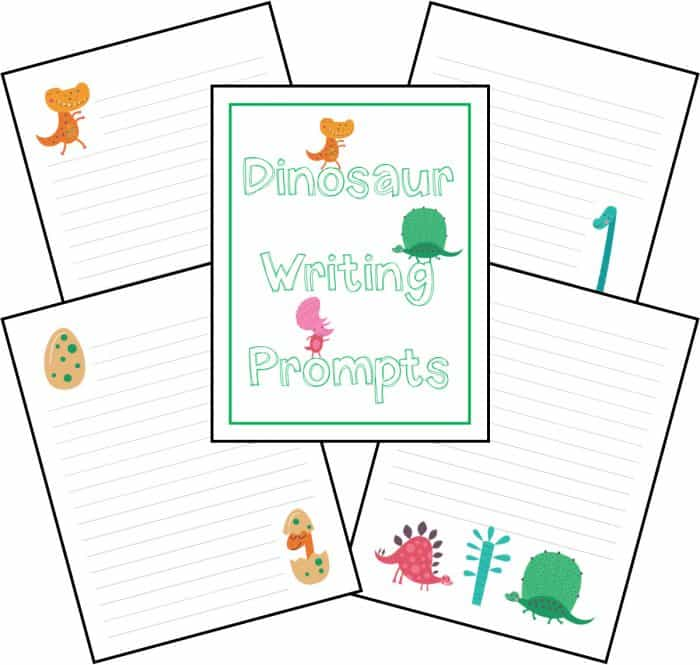 A collage of free printable dinosaur writing prompts.